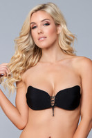 Strapless Microfiber Adhesive Lace Up Bra