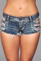 Distressed Medium Wash Jean Shorts