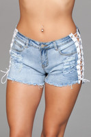 Distressed Light Wash Lace Up Jean Shorts