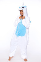 Kids White/Blue Unicorn Onesie