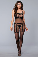 Faux Garter Belt and Cutout Cami Bodystocking