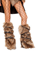 Faux Fur Strappy Leg Warmers