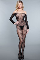 Lace Off the Shoulder Floral Long Sleeve Bodystocking