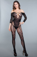 Lace Off the Shoulder Faux Teddy Bodystocking