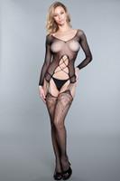 Fishnet Long Sleeve Strappy Suspender Bodystocking