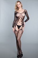 Fishnet Long Sleeve Strappy Suspender Bodystocking