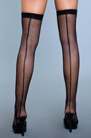 Fishnet Back Seam Thigh High Stockings