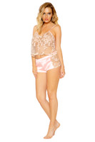 Floral Mesh and Satin Cami and Shorts Set