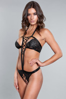 Criss Cross Strappy Lace G-String Teddy