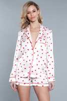 Heart Print Top and Shorts Pajama Set