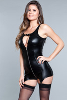 Wet Look Zipper and Buckle Garter Romper