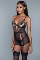 Strappy Mesh Cutout Chemise and G-String Set