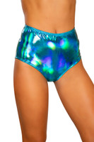 Iridescent High-Waisted Zipper Shorts