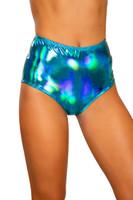 Iridescent High-Waisted Zipper Shorts