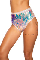 Iridescent Teardrop Sequin and Shimmer High Waisted Shorts
