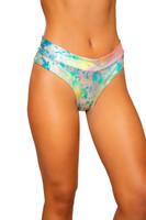Rainbow Splash High Rise Thong Shorts