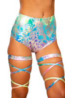 Rainbow Splash High Waisted Shorts