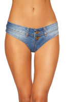 Denim Button Front Jean Shorts with Belt Loops