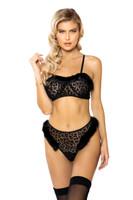 Sheer Velvet Leopard Marabou Bra Set