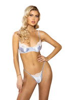 Lace and Satin Underwire Bra Set