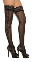 Sheer Floral Lace Top Thigh Highs