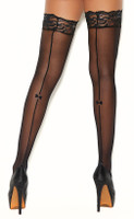 Stay Up Sheer Back Seam Bow Thigh Highs