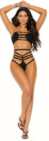Strappy Bandeau Bra and High Waist Thong Set