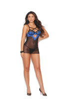 Sheer Lace Criss-Cross Straps Dress and G-String