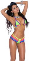Strappy Rainbow Cutout Triangle Thong Bikini