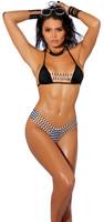 Strappy Striped High Waist G-String Bikini