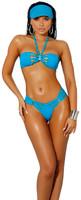 Strappy Bandeau Halter Top and Thong Bikini