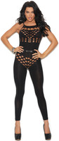 Opaque Footless Cutout O-Ring Bodystocking