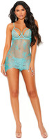 Mesh and Lace Underwire Chemise and G-String