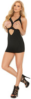 Cupless Lycra Keyhole Mini Dress