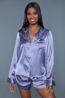 Satin Top and Shorts Pajama Set
