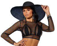 Long Sleeve Crochet Cover-Up Crop Top