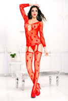 Hearts and Fishnet Suspender Bodystocking