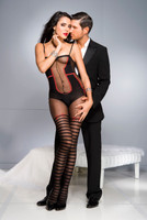 Faux Teddy and Striped Thigh High Bodystocking