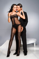 Checkers & Stripes Sheer Opaque Bodystocking