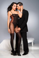 Faux Strappy Teddy and Stockings Bodystocking