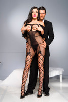 Cupless Off the Shoulder Fishnet Bodystocking