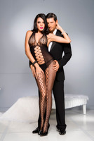 Halter Honeycomb Net Cutout Bodystocking