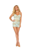 Striped Underwire Lace Chemise and G-String Set