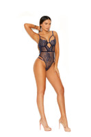 Sheer Lace Thong Keyhole Strappy Teddy