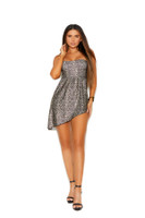 Strapless Leopard Asymetrical Hem Mini Dress