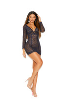 Sheer Lace Long Sleeve Plunging Mini Dress