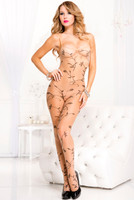 Floral Vine Leaf Sheer Crotchless Bodystocking