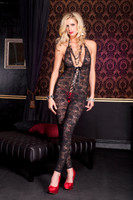 Floral Lace Halter Footless Lace Up Bodystocking