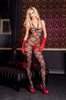 Criss-Cross Print Crotchless Bodystocking