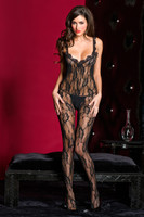 Scallop Trim Sheer Lace Crotchless Bodystocking